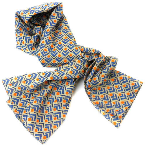 Cotton Scarf - Blue and Orange | Fair Trade & Handmade