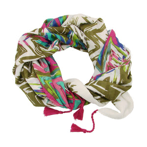 Cotton Scarf - Flamestitch - Olive | Fair Trade & Handmade