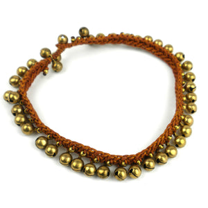 Bohemian Tribal Bells Anklet - Brown | Fair Trade & Handmade