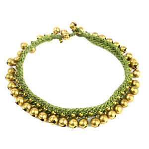 Bohemian Tribal Bells Anklet - Green | Fair Trade & Handmade