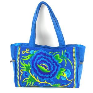 Embroidered Shoulder Bag - Floral - Blue | Fair Trade & Handmade