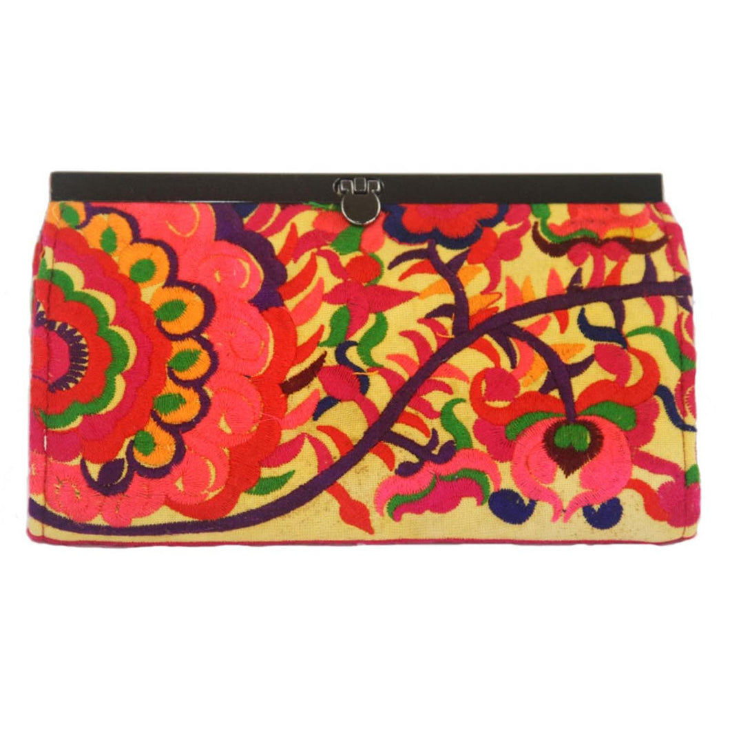 Embroidered Flower Clutch Purse - Orange | Fair Trade & Handmade