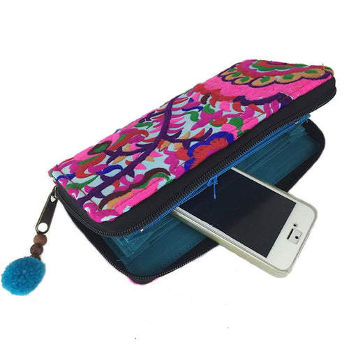 Embroidered Flower Wallet - Turquoise | Fair Trade & Handmade