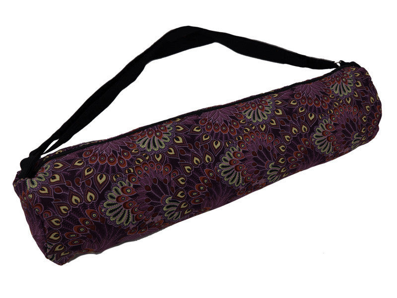 Yoga Mat Bag - Feathers Purple | Fair Trade & Handmade