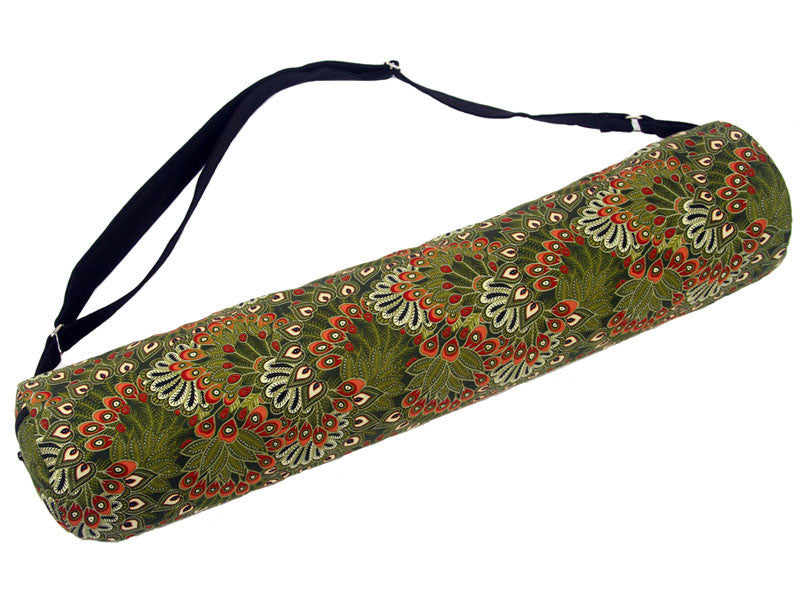 Yoga Mat Bag - Feathers Green | Fair Trade & Handmade