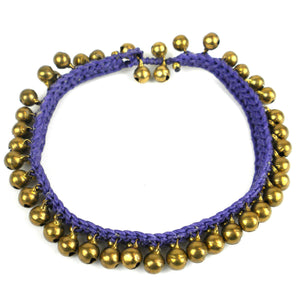 Bohemian Tribal Bells Anklet  - Purple | Fair Trade & Handmade