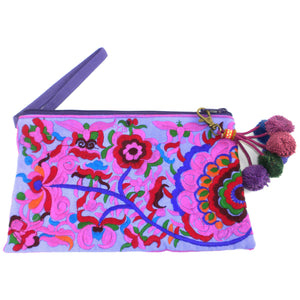 Embroidered Flower Zipper Purse - Purple | Fair Trade & Handmade