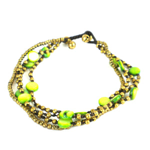 Bohemian Bead Anklet - Lime | Fair Trade & Handmade