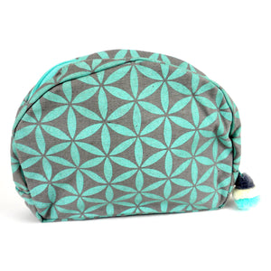 Flower of Life Cosmetic Bag - Cyan | Fair Trade & Handmade