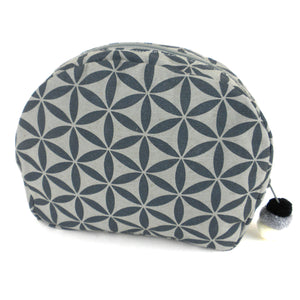Flower of Life Cosmetic Bag - Graphite | Fair Trade & Handmade