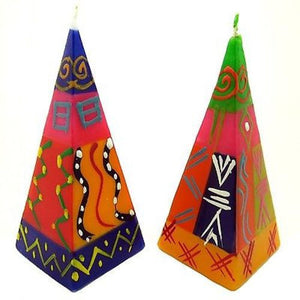 Set of Two Hand-Painted Pyramid Candles - Shahida Design Handmade and Fair Trade
