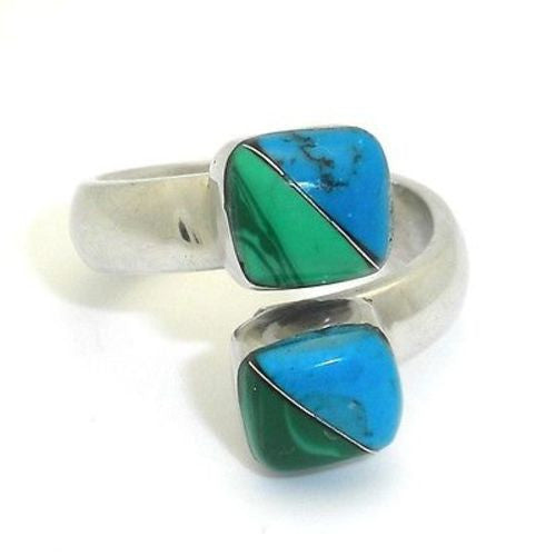 Two Cube Malachite Turquoise Wrap Ring Handmade and Fair Trade