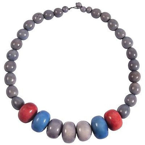 Tagua and Seed Manabi Necklace in Periwinkle Handmade and Fair Trade