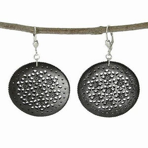 Lacy Round Bone Earrings in Black Handmade and Fair Trade