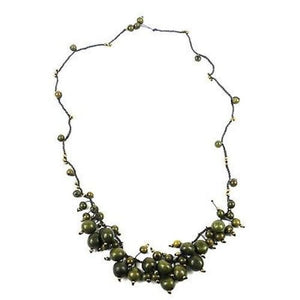 Cloud Forest Necklace in Military Green Handmade and Fair Trade