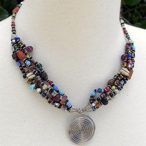 Single Spiral 'Elegance' Multicolor Beaded Necklace Handmade and Fair Trade