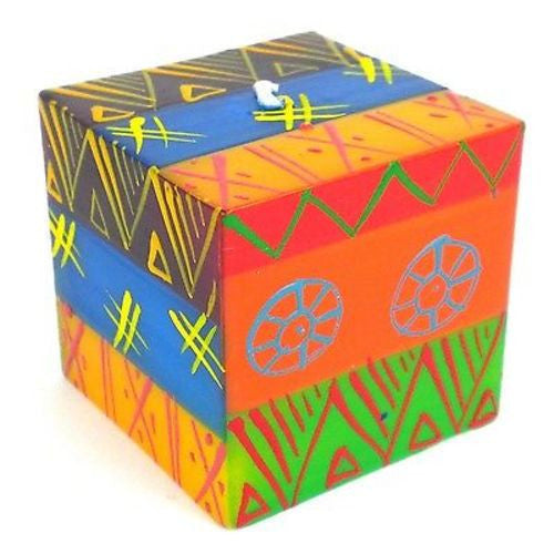 Hand-Painted Cube Candle - Shahida Design Handmade and Fair Trade
