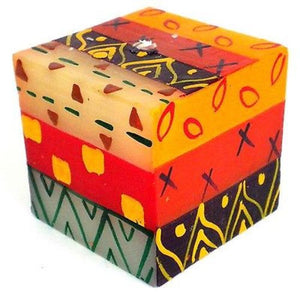 Hand-Painted Cube Candle - Indaeuko Design Handmade and Fair Trade