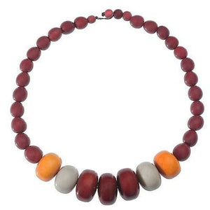 Tagua and Seed Manabi Necklace in Burgundy Handmade and Fair Trade