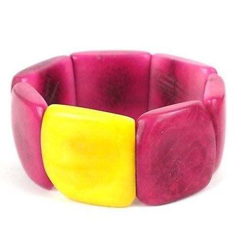 Accented Tagua Bracelet Berry with Lemon Handmade and Fair Trade