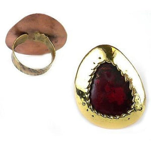 Oval Organic Brass and Copper Ring Handmade and Fair Trade