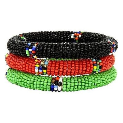 Maasai Bangles - Set of Three - Green, Red & Black Handmade and Fair Trade