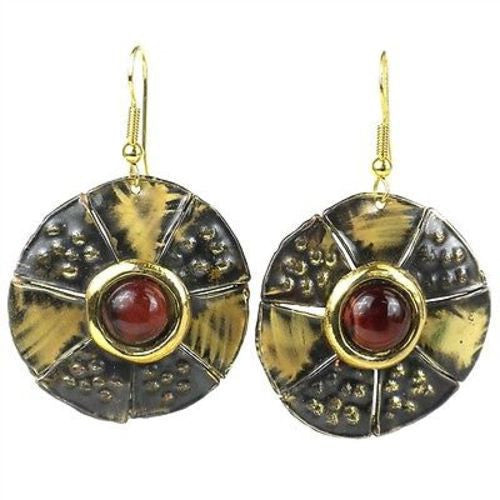 Roulette Red Tiger Eye Brass Earrings Handmade and Fair Trade