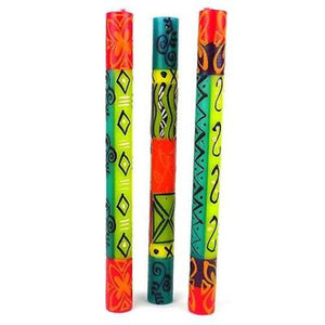 Set of Three Boxed Tall Hand-Painted Candles - Matuko Design Handmade and Fair Trade