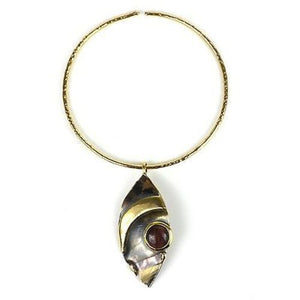 Red Tiger Eye Reflections Copper and Brass Pendant Handmade and Fair Trade