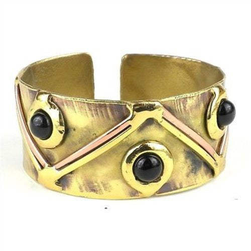 Onyx Triangles Brass Cuff Handmade and Fair Trade