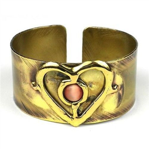 Peach Tiger Eye and Brass Heart Cuff Handmade and Fair Trade