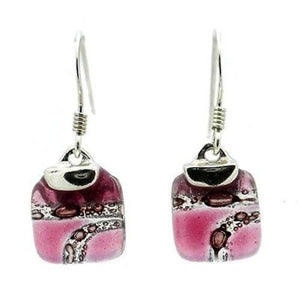 Strawberry Highway Mini Glass Square Earrings with Sterling Silver Handmade and Fair Trade