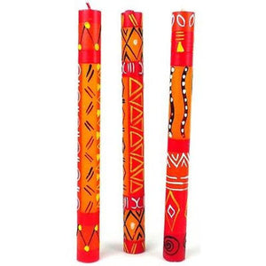 Set of Three Boxed Tall Hand-Painted Candles - Zahabu Design Handmade and Fair Trade