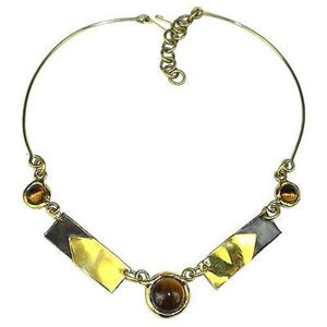 "Tiger Eye ""To the Point"" Brass Necklace Handmade and Fair Trade"