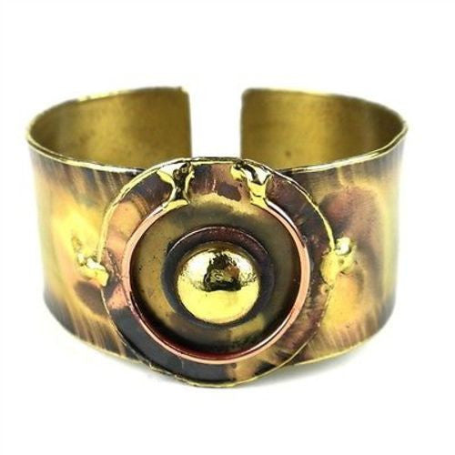 Circle Within Brass Cuff Handmade and Fair Trade