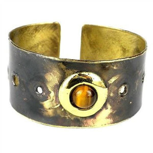 Golden Tiger Eye Domino Brass Cuff Handmade and Fair Trade