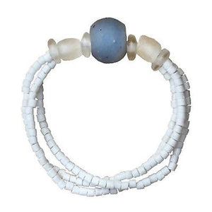 Upcycled Glass Bead Bracelet - White/Blue | Fair Trade & Handmade