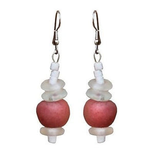 Upcycled Glass Bead Earrings - White/Pink | Fair Trade & Handmade