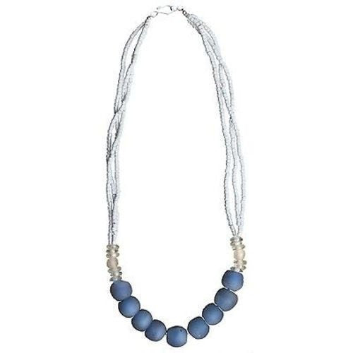 Upcycled Glass Bead Necklace - White/Blue | Fair Trade & Handmade