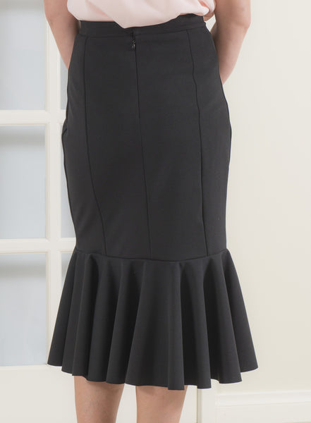 High Waist Midi Length Ruffle Skirt in Black Twill