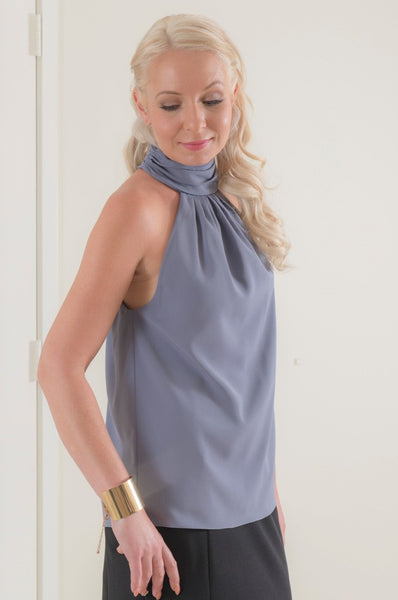 Sleeveless High Neck Blouse in Crepe de Chine