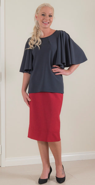 Cascade Sleeve Blouse in Charcoal Grey