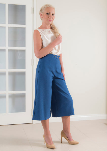 High Waist Midi Length Tailored Pant in Marle Blue