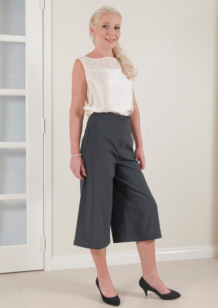 High Waist Midi Length Pant in Charcoal