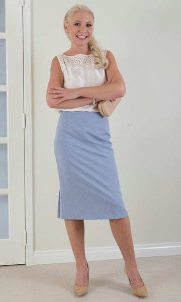 Pleated Back Pencil Skirt