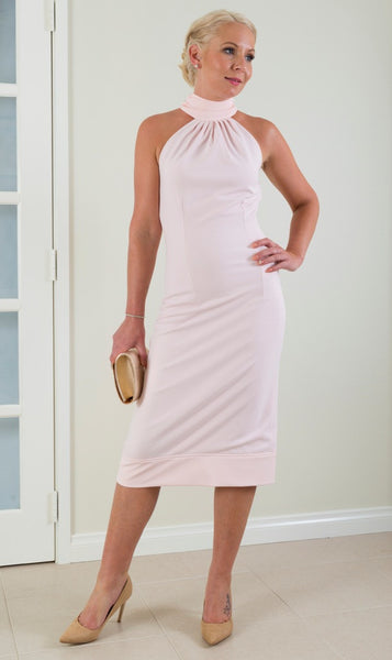 Beautiful Pink coloured midi length dress perfect for weddings or special events