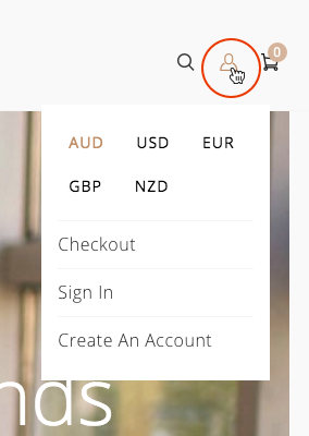 menu currency selector