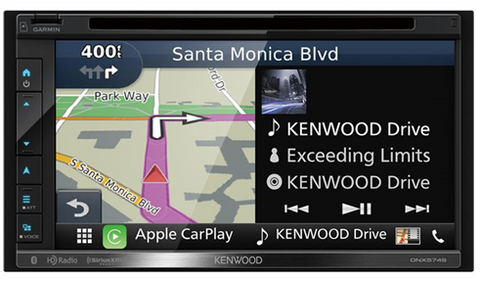 "Kenwood DDin Receiver (6.8"" - DVD / SD / BT / CarPlay / NAV / SXM Ready) DNX574S"