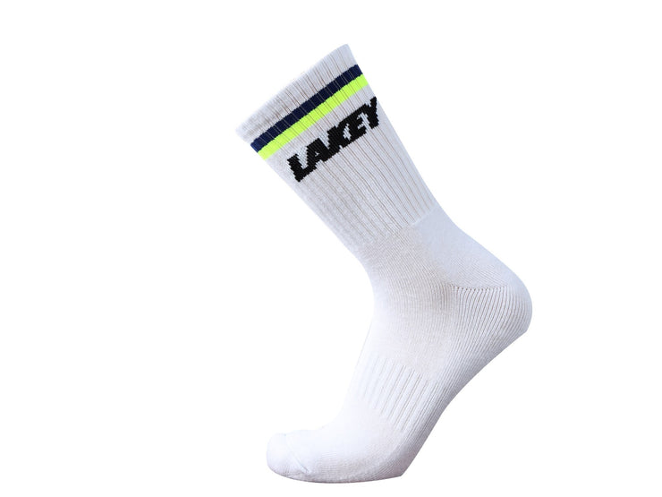 TWO STRIPE LOGO SOCKS - NAVY/NEON YELLOW