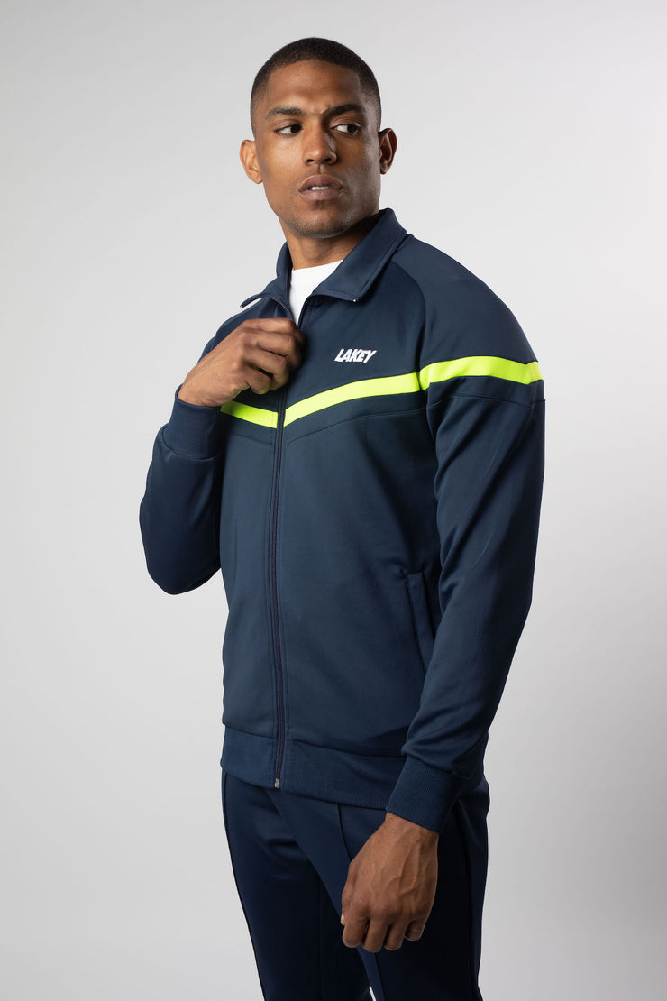 CHEVRON PLUS TRACKTOP NAVY/NEON YELLOW